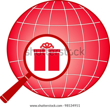 red sign with planet, magnifier and gift