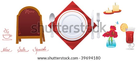red signboard and set of kitchen object - stock vector
