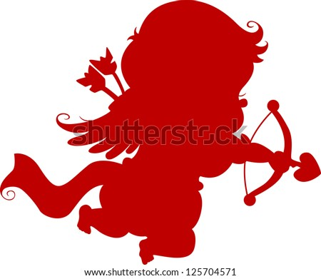 Red Silhouette Cupid with Bow and Arrow - stock vector