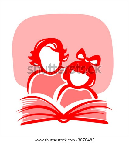 Red silhouettes of the girl and the woman, reading the book. - stock vector