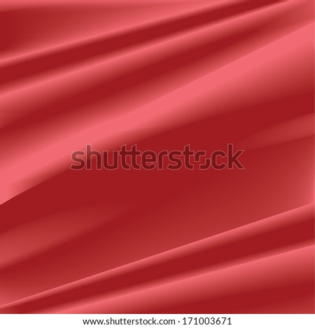 Red silk background, vector illustration - stock vector
