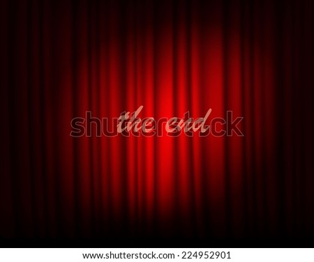 red silk curtain with light from the searchlight - stock vector