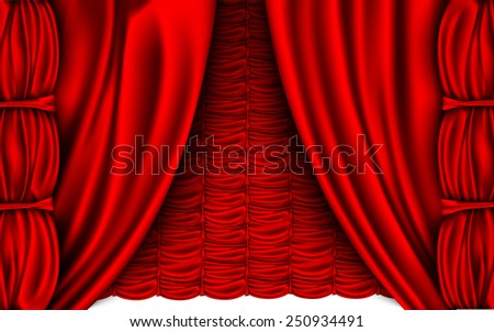 red silk curtain with shadows and pelmet