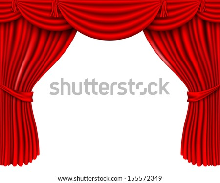 red silk curtains - stock vector