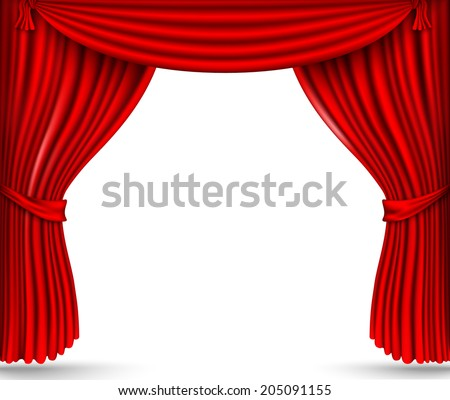 red silk curtains stage