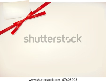 Red silk gift bow and card - stock vector