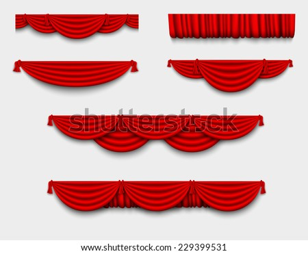 red silk set Pelmet and silk red curtains - stock vector