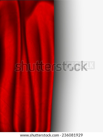 red silk with a shadow on a light background - stock vector