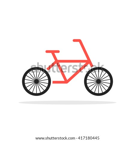 red simple bicycle emblem. concept of cycling, bycicle pictogram, fat-bike, cyclist hobby, motion, cyclotourism. flat style trend modern logotype graphic design vector illustration on white background - stock vector