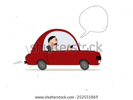 Red simple cartoon car driver with speech bubble - stock vector
