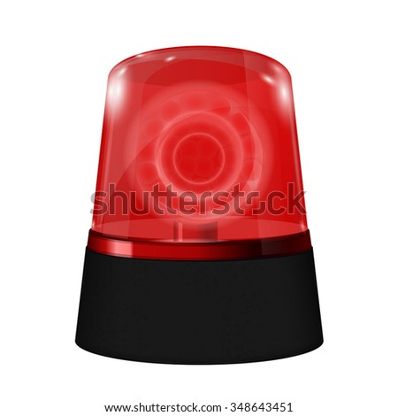 Red siren. Flashing emergency light.  Vector isolated on white background.