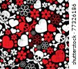 Red skulls in flowers and hearts on black background - seamless pattern - stock vector