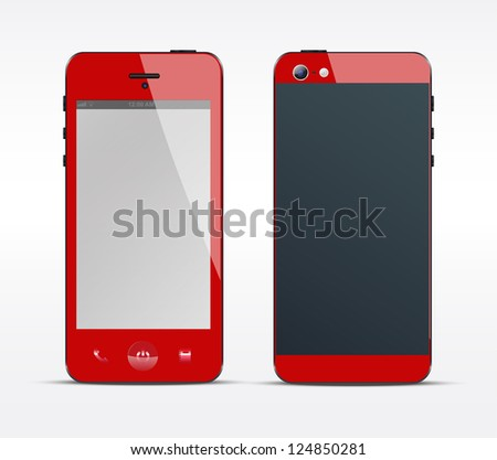 Red smartphone concept - stock vector
