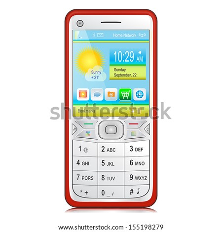 Red smartphone with silver white front panel, physical keyboard and color content on display. Vector illustration Isolated on white background.