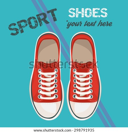 Red sneakers for unisex. Sport shoes. Vector illustration isolated on blue background. - stock vector