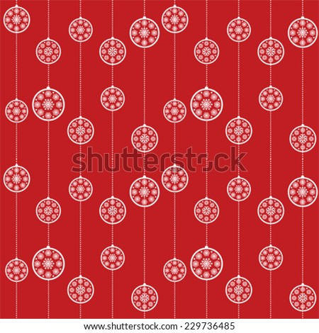 Red snowflake Christmas baubles pattern background - stock vector