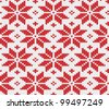 Red snowflake seamless knitted background. EPS 8 vector illustration. - stock photo