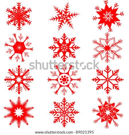 red snowflakes on white background - stock vector