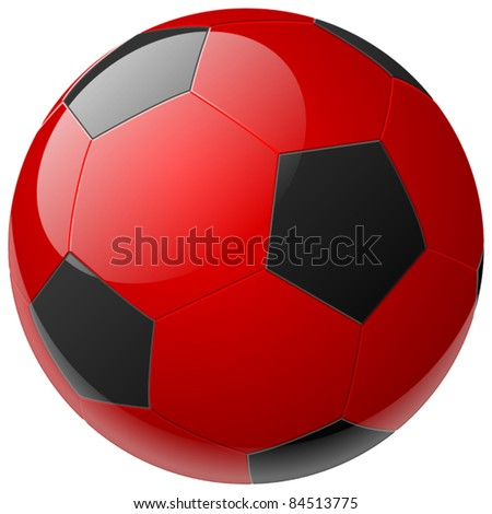 red soccer ball - stock vector