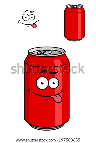 Red soda can with a goofy comical look sticking out its tongue isolated on white for fat food design - stock vector