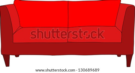 Red sofa - stock vector