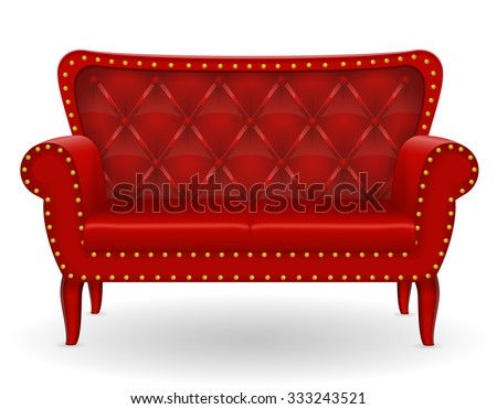 red sofa furniture vector illustration isolated on white background - stock vector