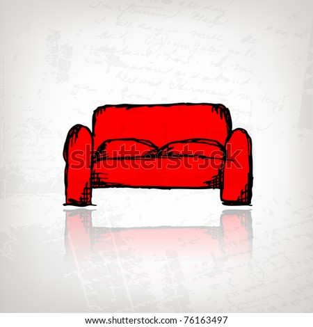 Red sofa on grunge background for your design - stock vector
