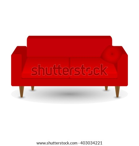Red sofa with pillow. Vector illustration. - stock vector