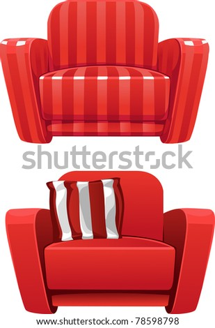 Red soft stripped armchair - stock vector