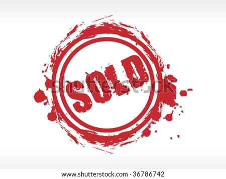 red sold stamp on white background. Grunge vector illustration - stock vector
