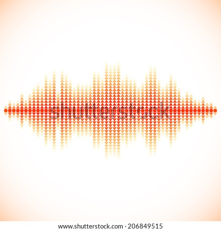 Red sound waveform with triangular up and down pointers - stock vector