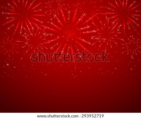 Red sparkle fireworks on dark background, illustration. - stock vector