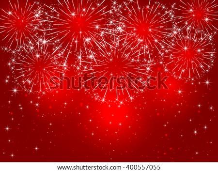 Red sparkling fireworks on shiny background, illustration. - stock vector