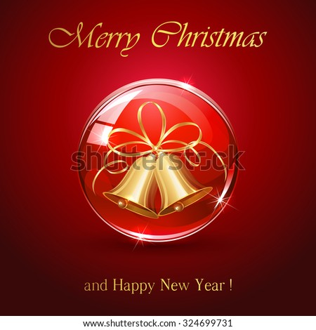 Red sphere with Christmas bells Christmas bells in sphere on red background, illustration. - stock vector