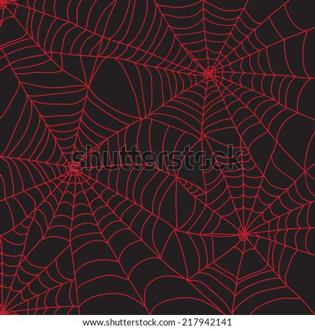 Red spider web for Halloween - stock vector