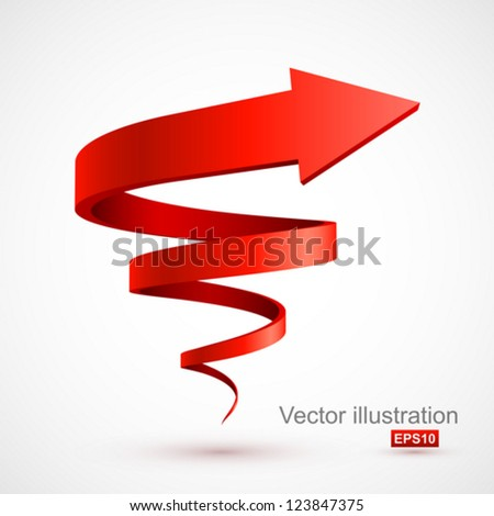 Red spiral arrow 3D. - stock vector