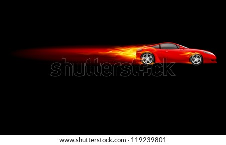 Red Sport Car. Burnout design. Illustration on black - stock vector