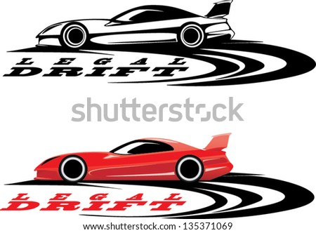 red sport car icon and black icon ready for vinyl cutting - stock vector