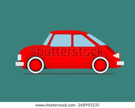Red Sport car. Isolated on green - stock vector