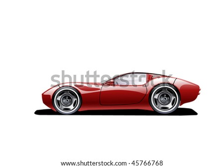 red sports car on white background, vector illustration, original design - stock vector