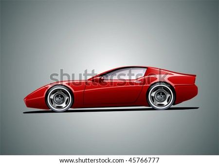 red sportscar (grey background), vector illustration, original design - stock vector