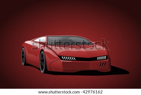 red sportscar on dark background, vector illustration - stock vector