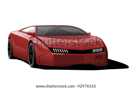 red sportscar on white background, vector illustration - stock vector
