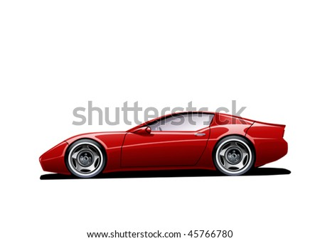 red sportscar on white background, vector illustration, original design - stock vector