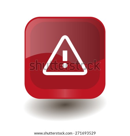 Red square button with white alert sign, vector design for website  - stock vector