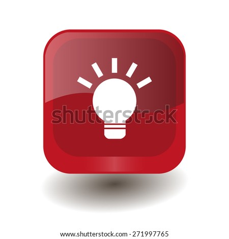 Red square button with white light bulb sign, vector design for website - stock vector