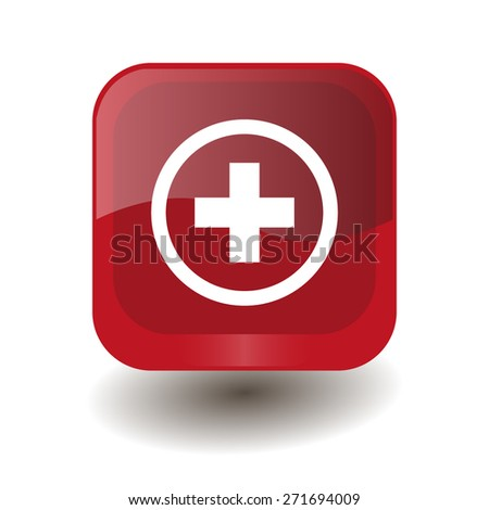 Red square button with white plus sign, vector design for website  - stock vector