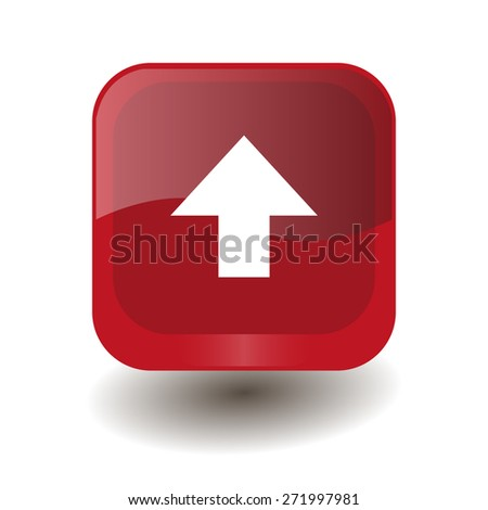 Red square button with white up arrow sign, vector design for website