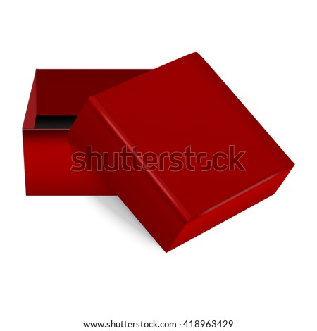 red square gift box, ideal for jewelry. Vector