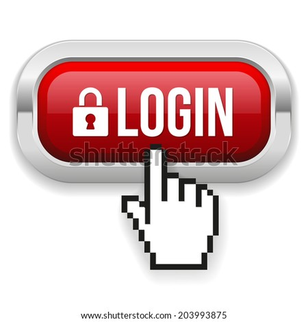 Red Square Login Button With Metallic Border On White Background - stock vector